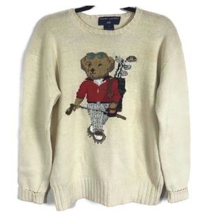 Ralph Lauren Polo Sport Sweater Bear Golf Print